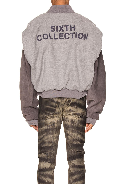 Image 4 of Fear of God 6th Collection Varsity Jacket in Melange Grey & Brown
