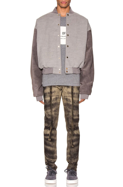 Image 5 of Fear of God 6th Collection Varsity Jacket in Melange Grey & Brown