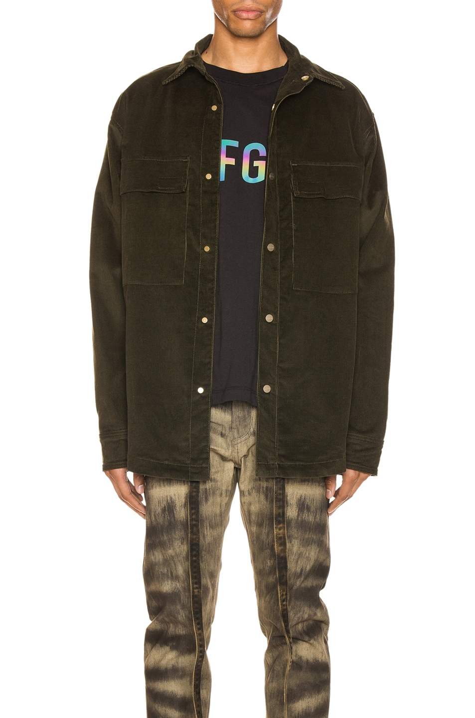 Image 1 of Fear of God Corduroy Shirt Jacket in Forest Green