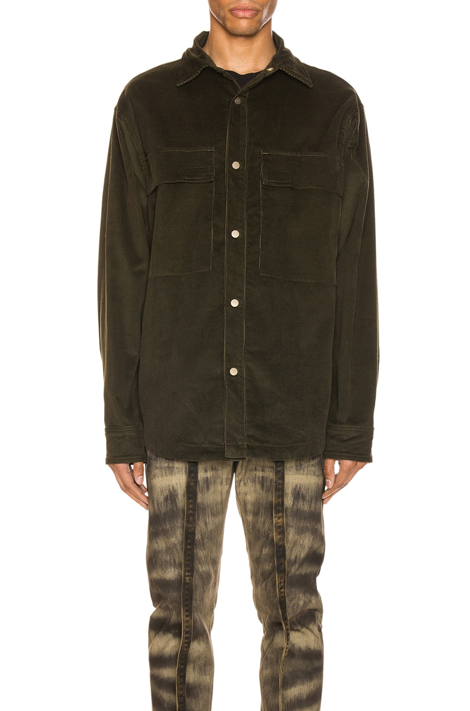 Image 2 of Fear of God Corduroy Shirt Jacket in Forest Green