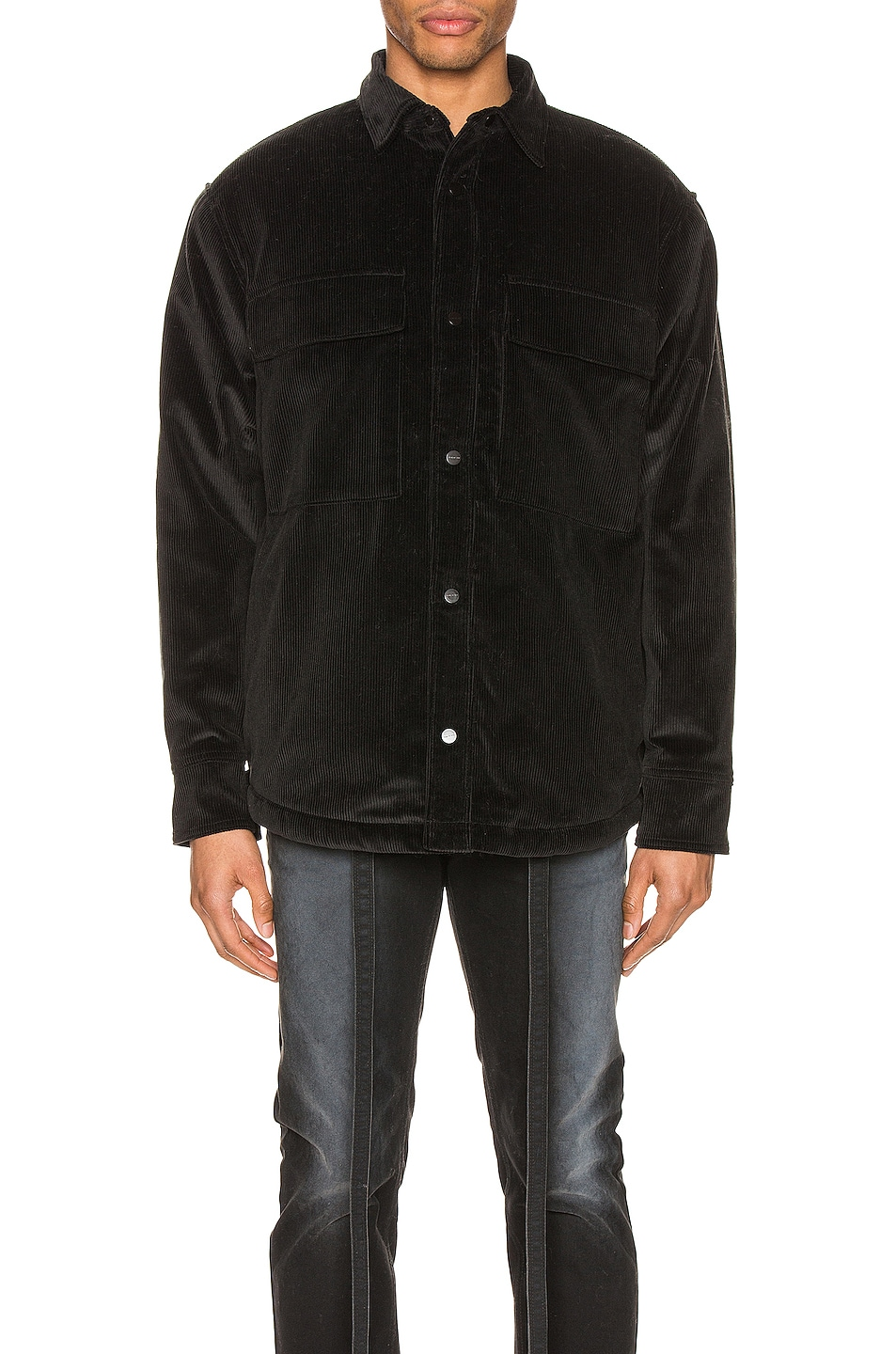 Image 1 of Fear of God Corduroy & Sherpa Lined Shirt Jacket in Black