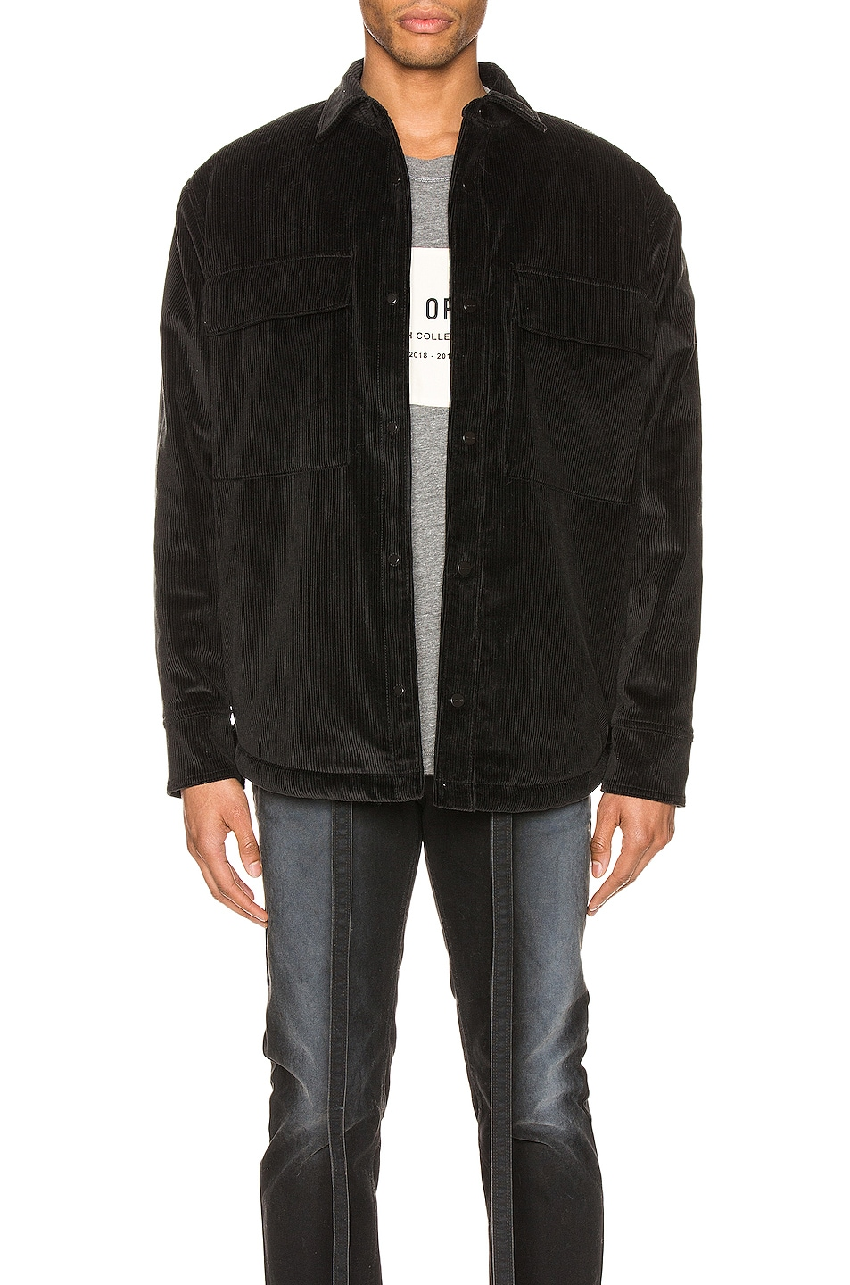 Image 2 of Fear of God Corduroy & Sherpa Lined Shirt Jacket in Black