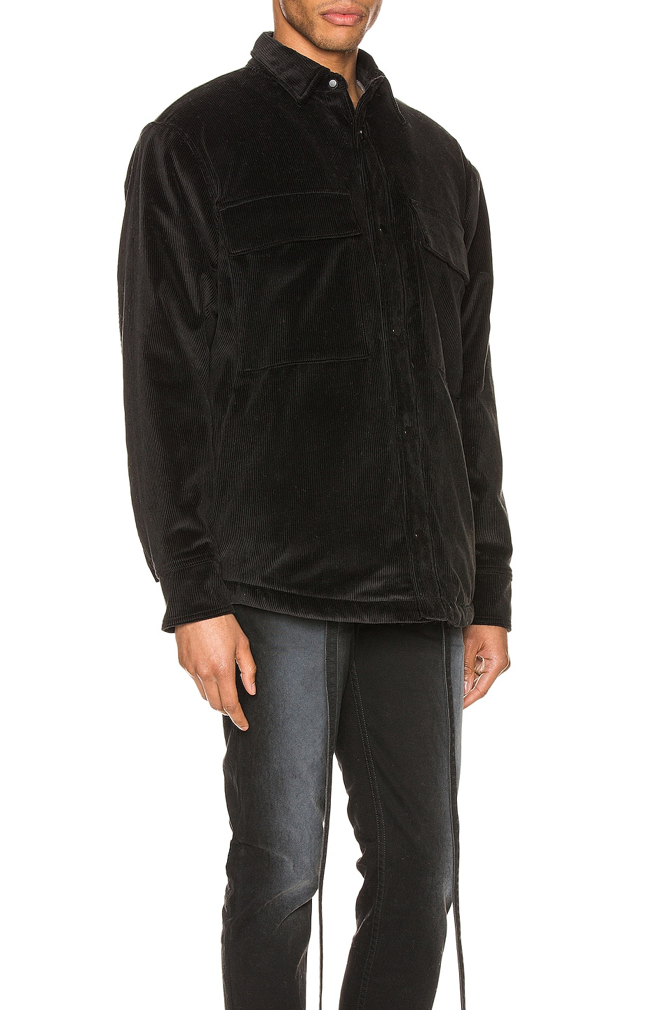 Image 3 of Fear of God Corduroy & Sherpa Lined Shirt Jacket in Black