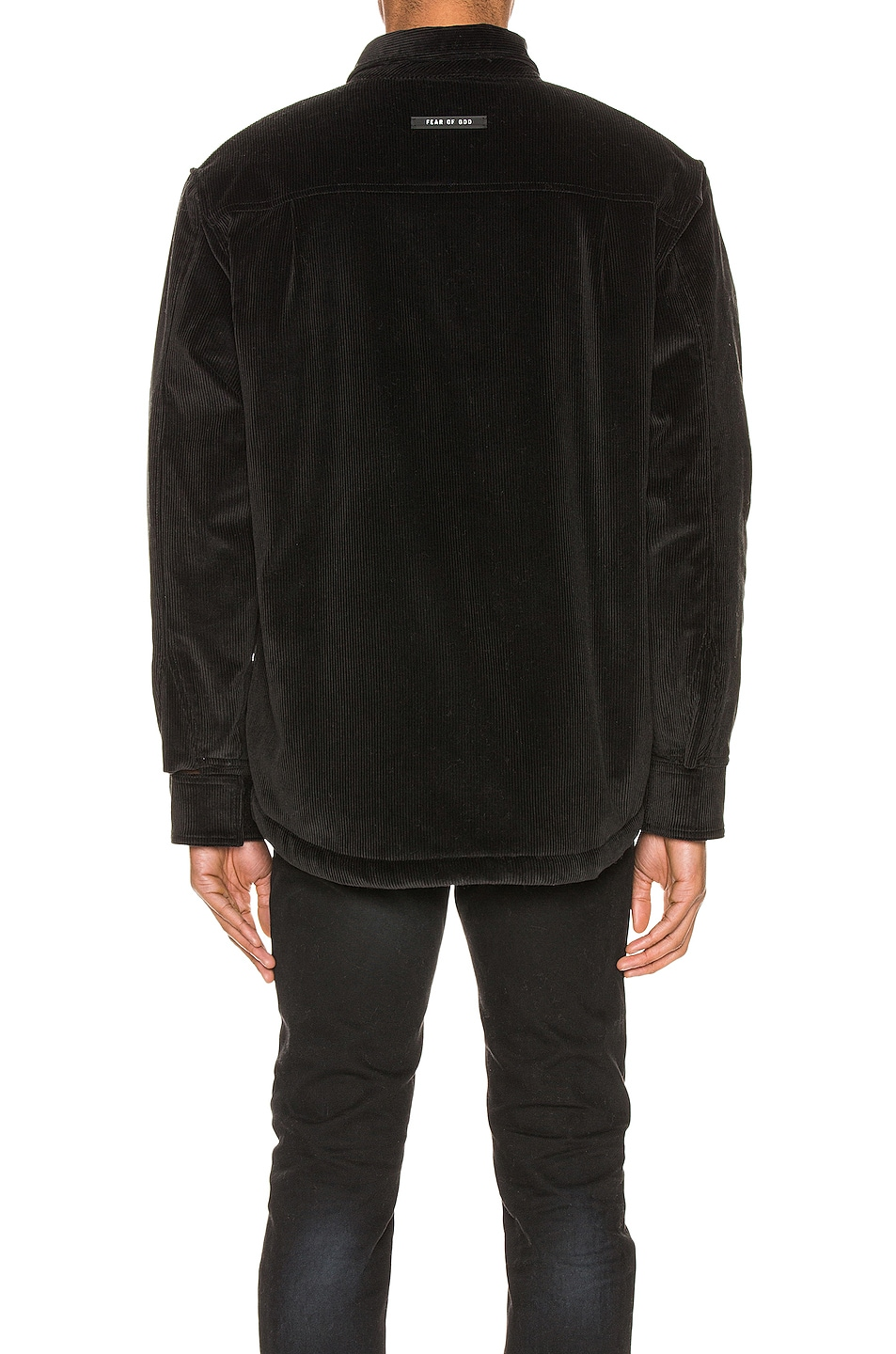 Image 4 of Fear of God Corduroy & Sherpa Lined Shirt Jacket in Black