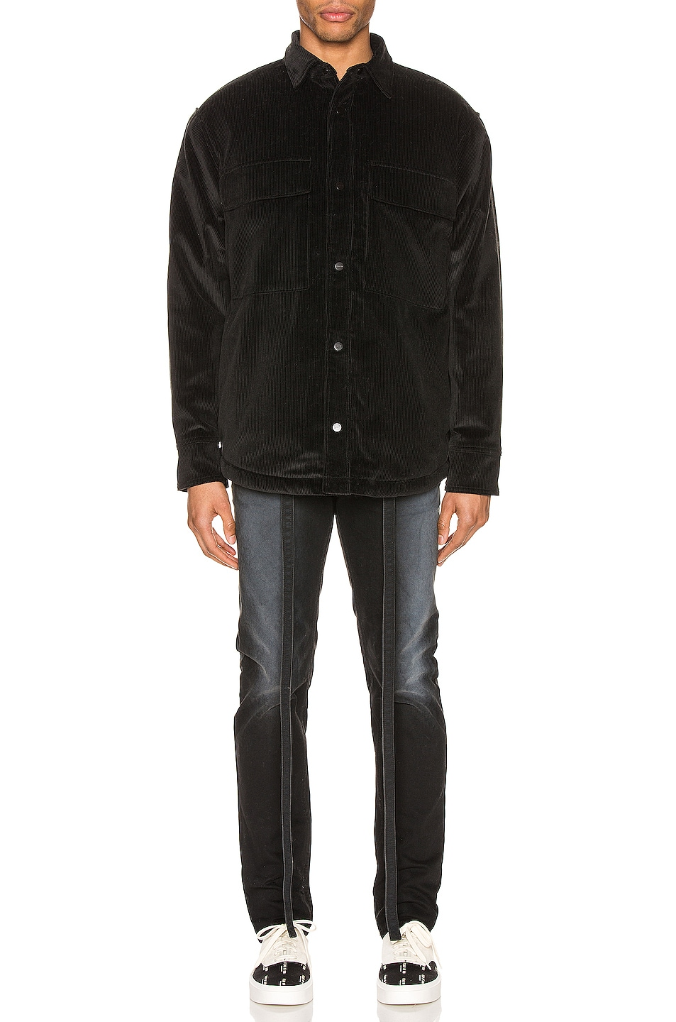 Image 5 of Fear of God Corduroy & Sherpa Lined Shirt Jacket in Black