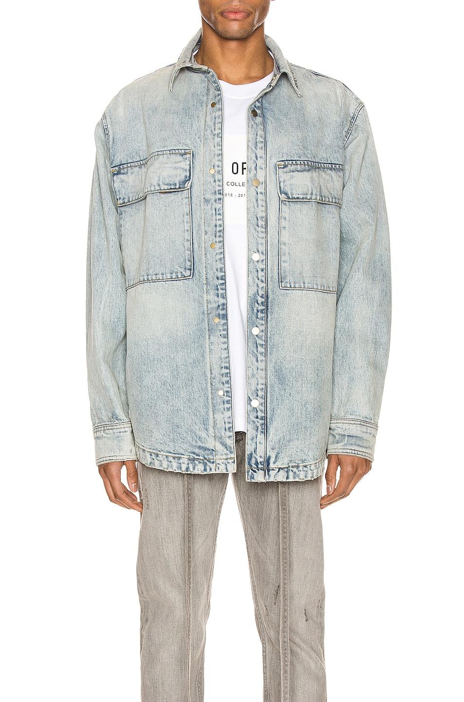 Image 1 of Fear of God Denim Vented Shirt Jacket in Vintage Indigo