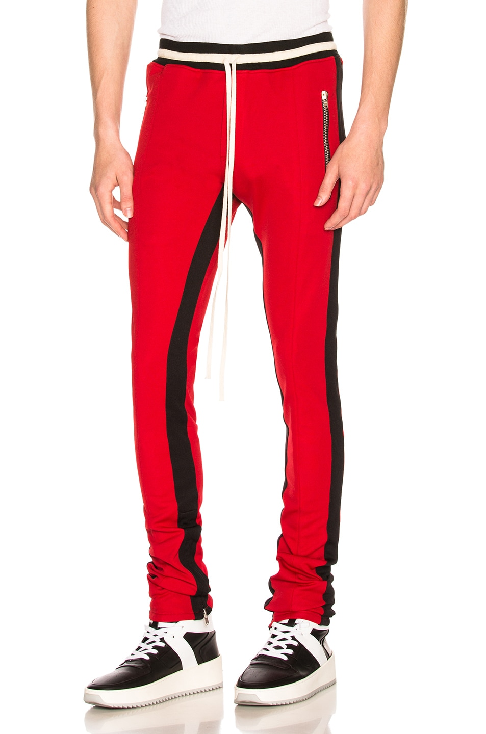 Fear of God Double Knit Double Stripe Track Pant in Red & Black