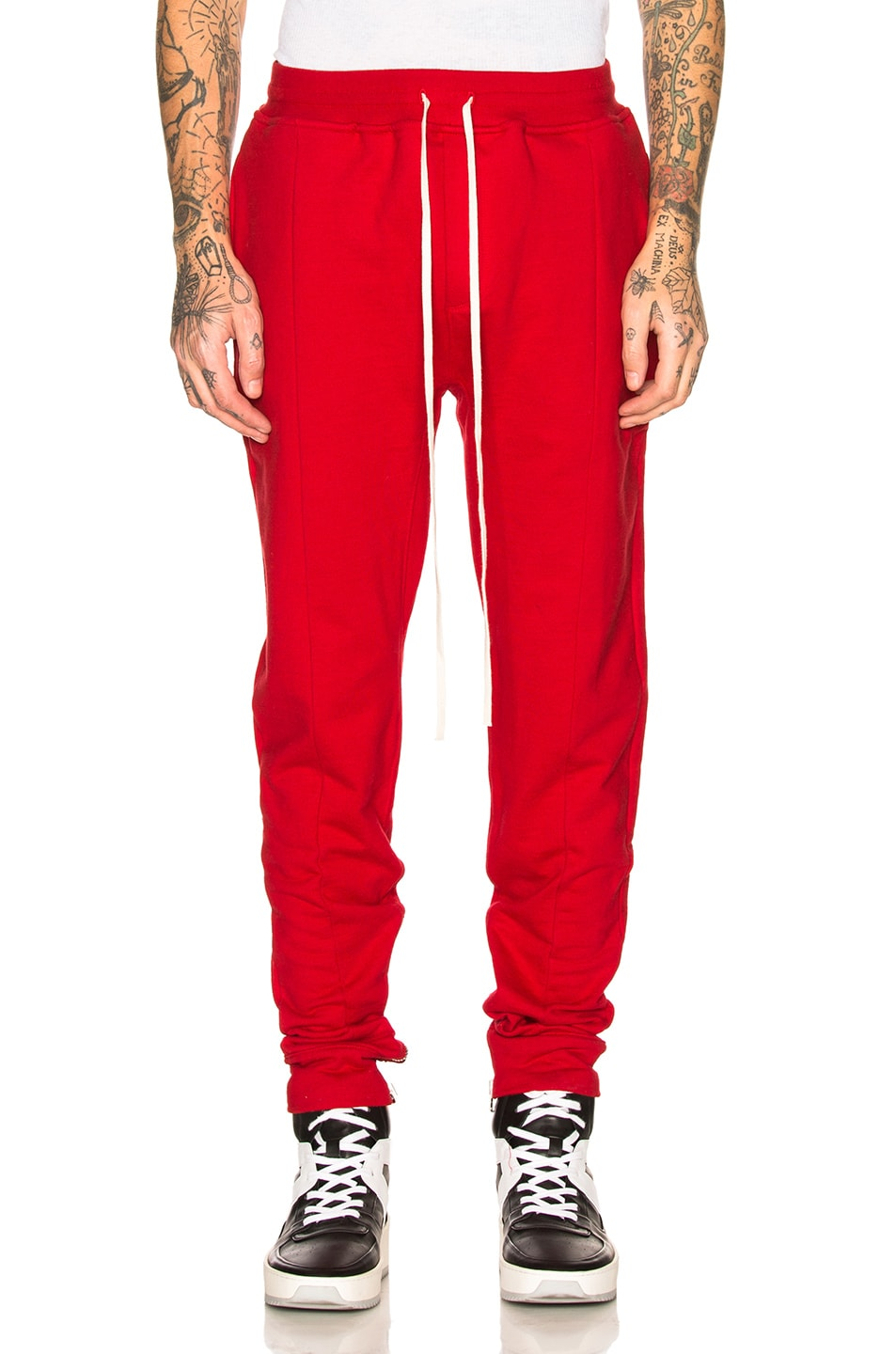 Slim-Fit Tapered Loopback Cotton-Jersey Drawstring Trousers in Red