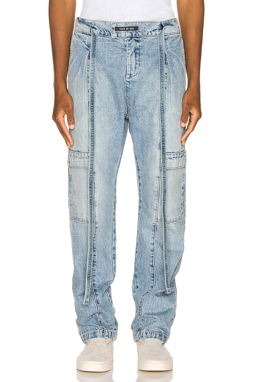 Image 1 of Fear of God Denim Baggy Cargo Trouser in Vintage Indigo
