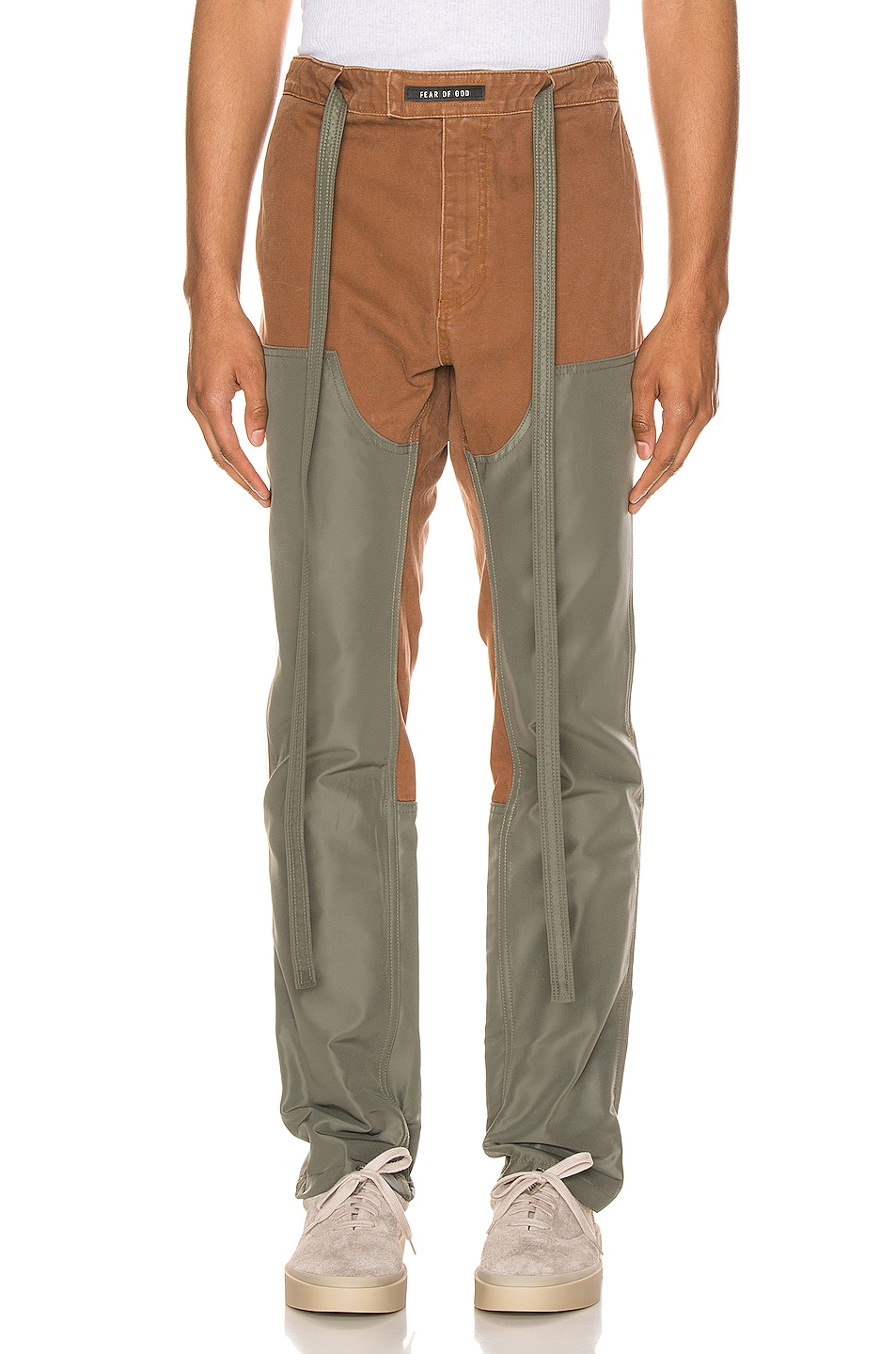 Image 1 of Fear of God Nylon Canvas Double Front Work Pant in Brick & Army Green