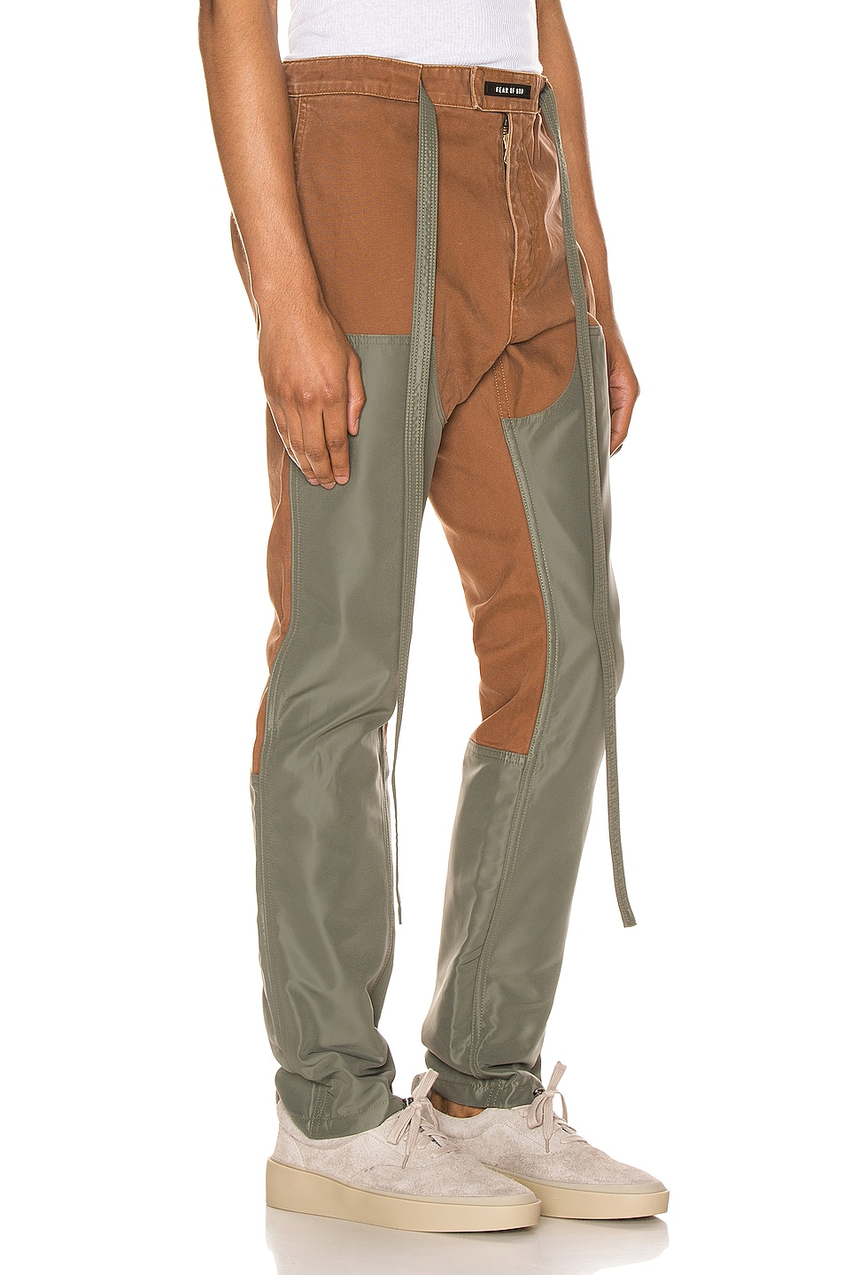 Image 2 of Fear of God Nylon Canvas Double Front Work Pant in Brick & Army Green
