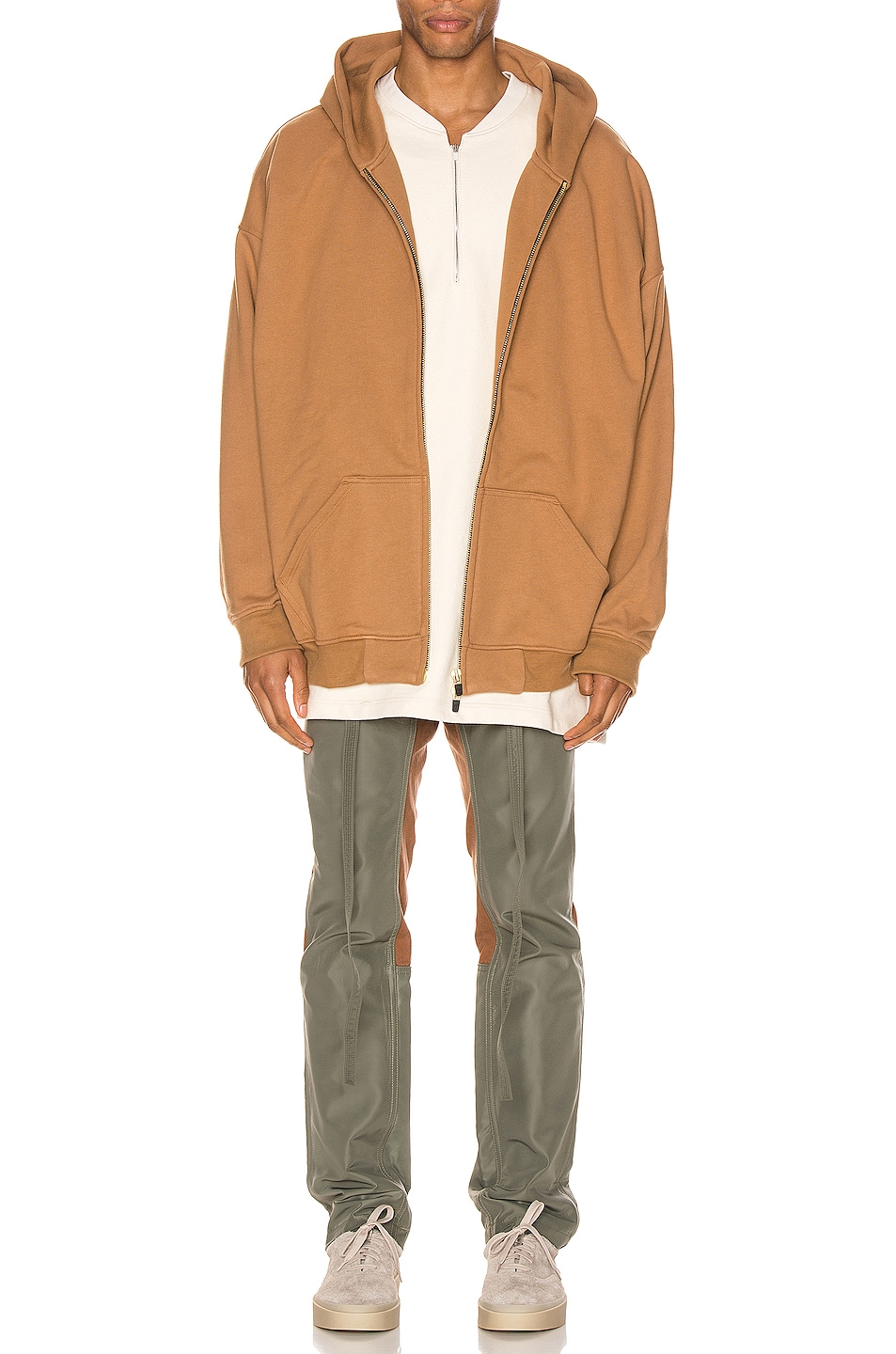 Image 4 of Fear of God Nylon Canvas Double Front Work Pant in Brick & Army Green