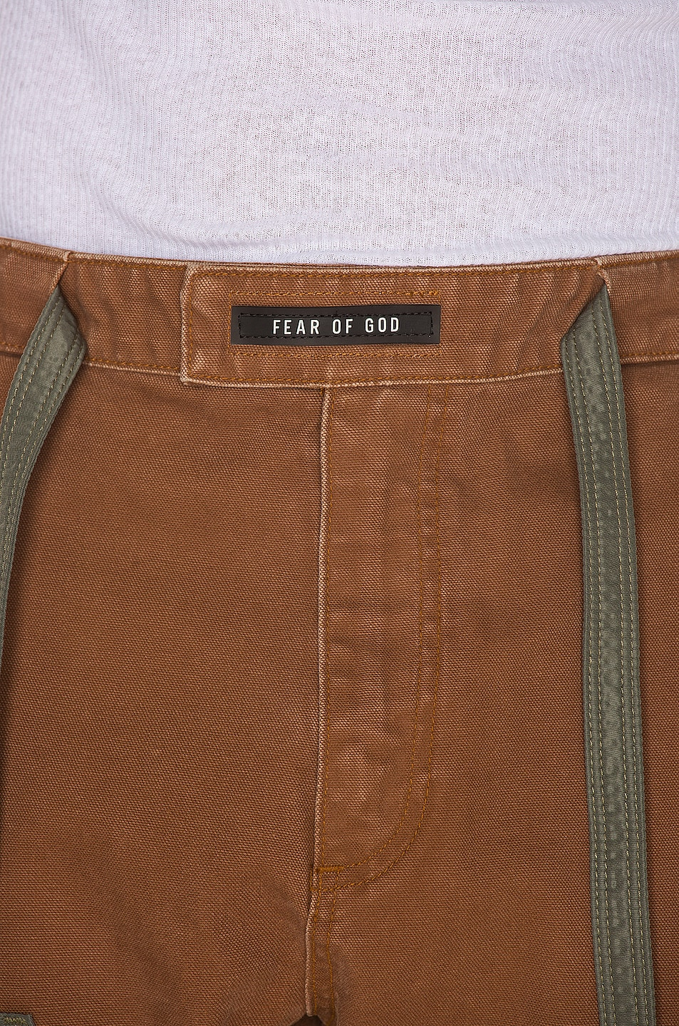 Image 5 of Fear of God Nylon Canvas Double Front Work Pant in Brick & Army Green