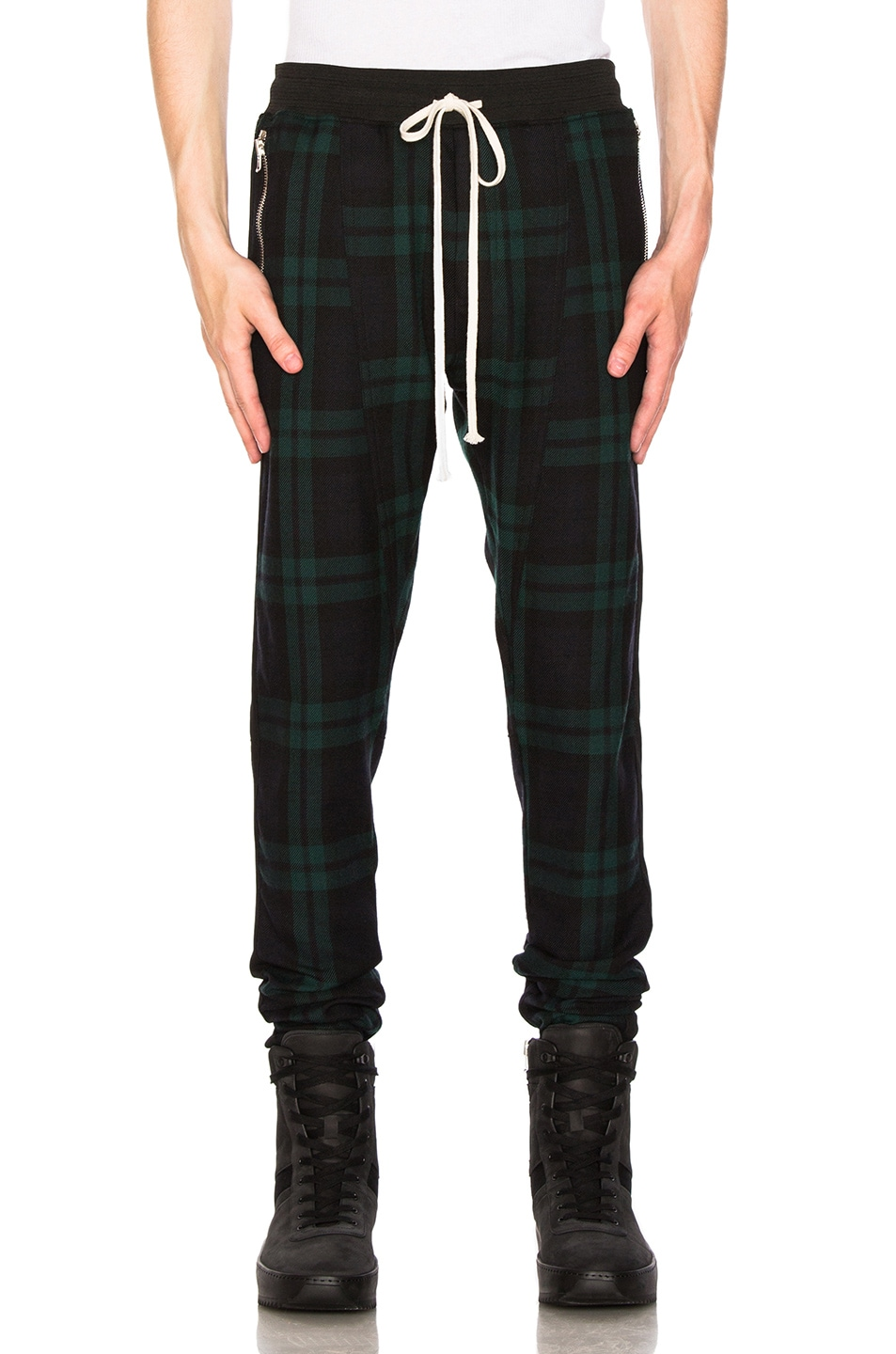 Fear Of God  FEAR OF GOD WOOL PLAID TROUSERS IN BLACK,CHECKERED & PLAID,GREEN