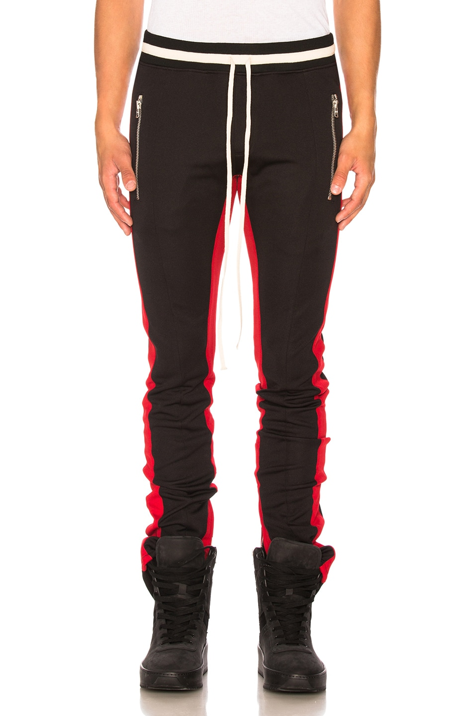 d12e7db084551c Image 1 of Fear of God Double Knit Double Stripe Track Pant in Black & Red