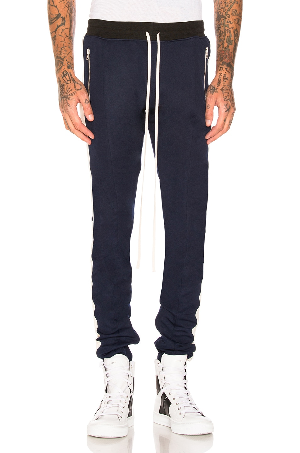 Fear of God Double Knit Track Pant in Navy & Cream | FWRD