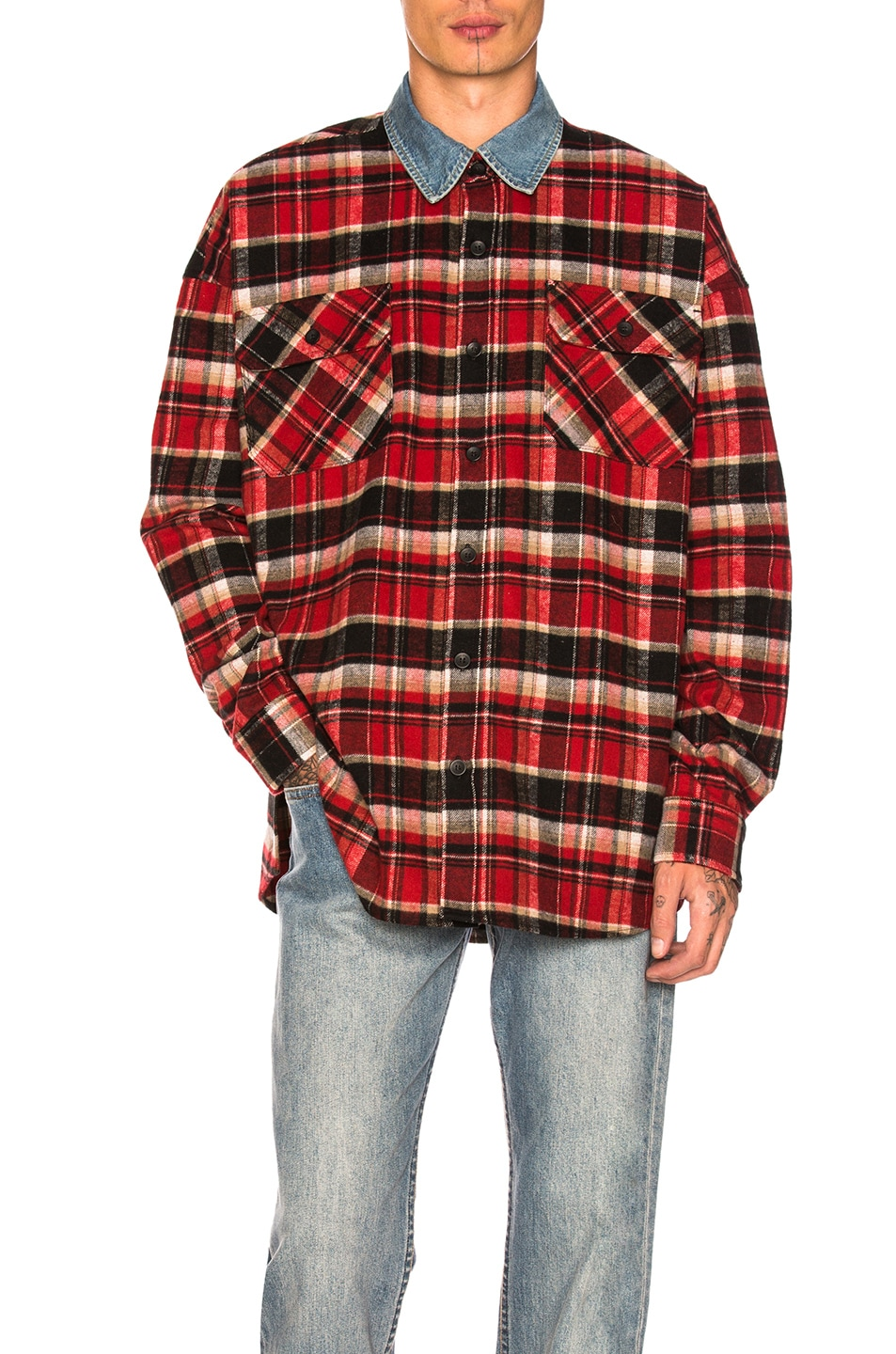 e7b97ac77a Image 1 of Fear of God Denim Collared Oversized Polo in Red Plaid