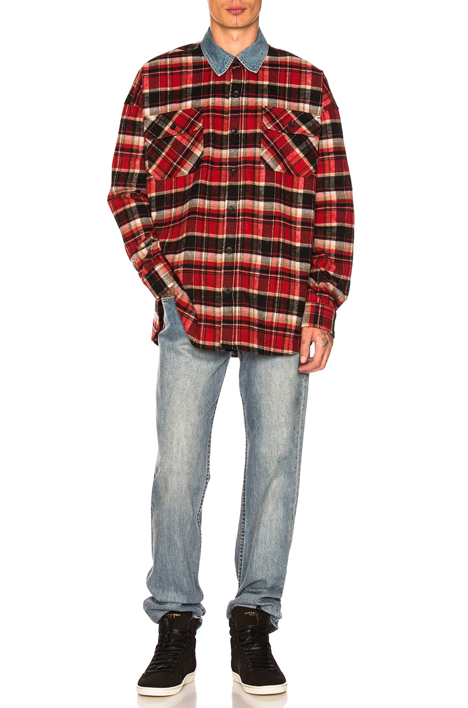 a62e0b2a1e Image 4 of Fear of God Denim Collared Oversized Polo in Red Plaid