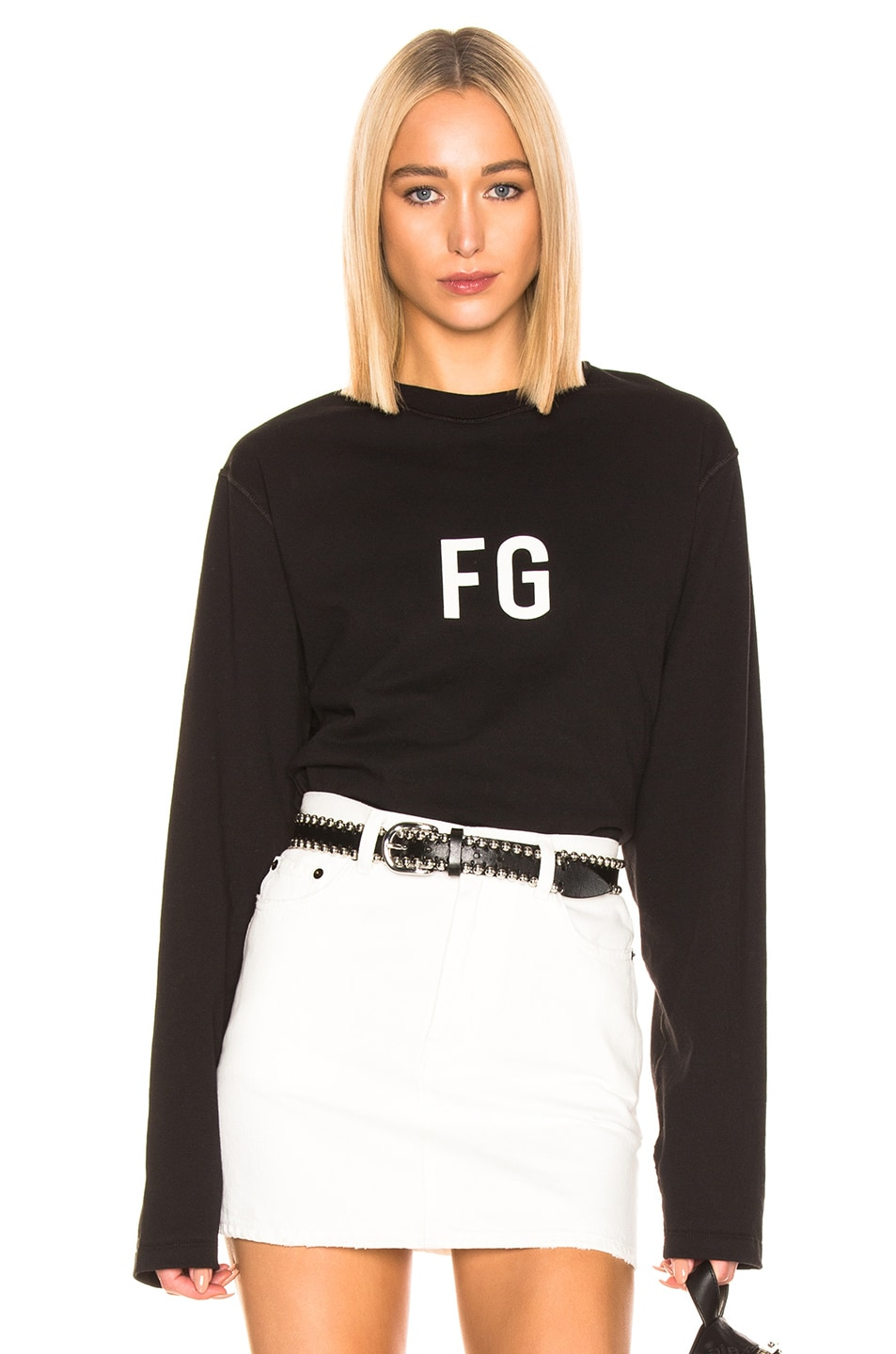Image 1 of Fear of God Long Sleeve 'FG' Tee in Vintage Black