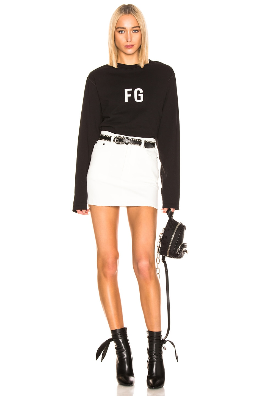 Image 4 of Fear of God Long Sleeve 'FG' Tee in Vintage Black