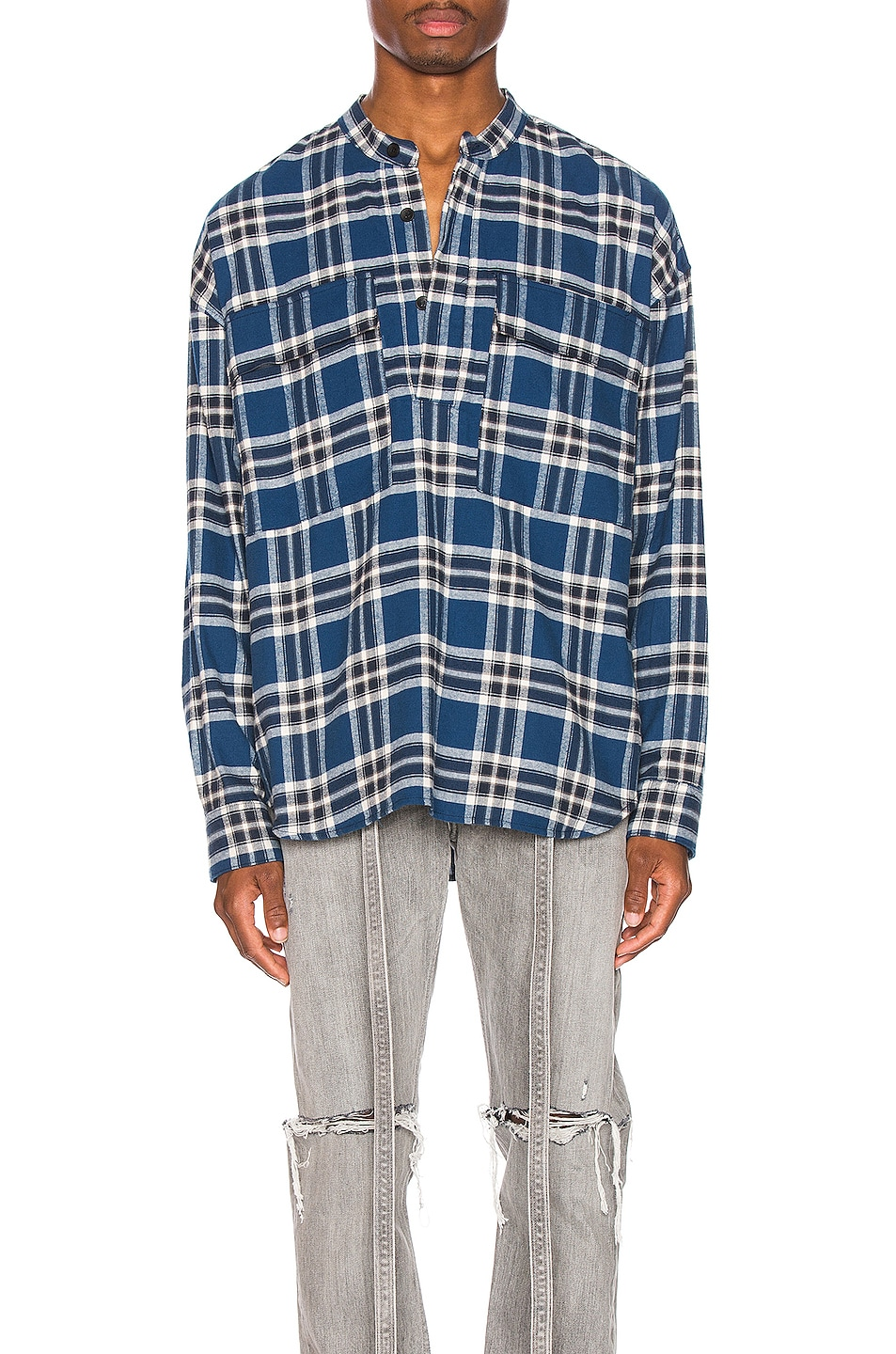 Image 1 of Fear of God Pullover Henley in Blue Plaid