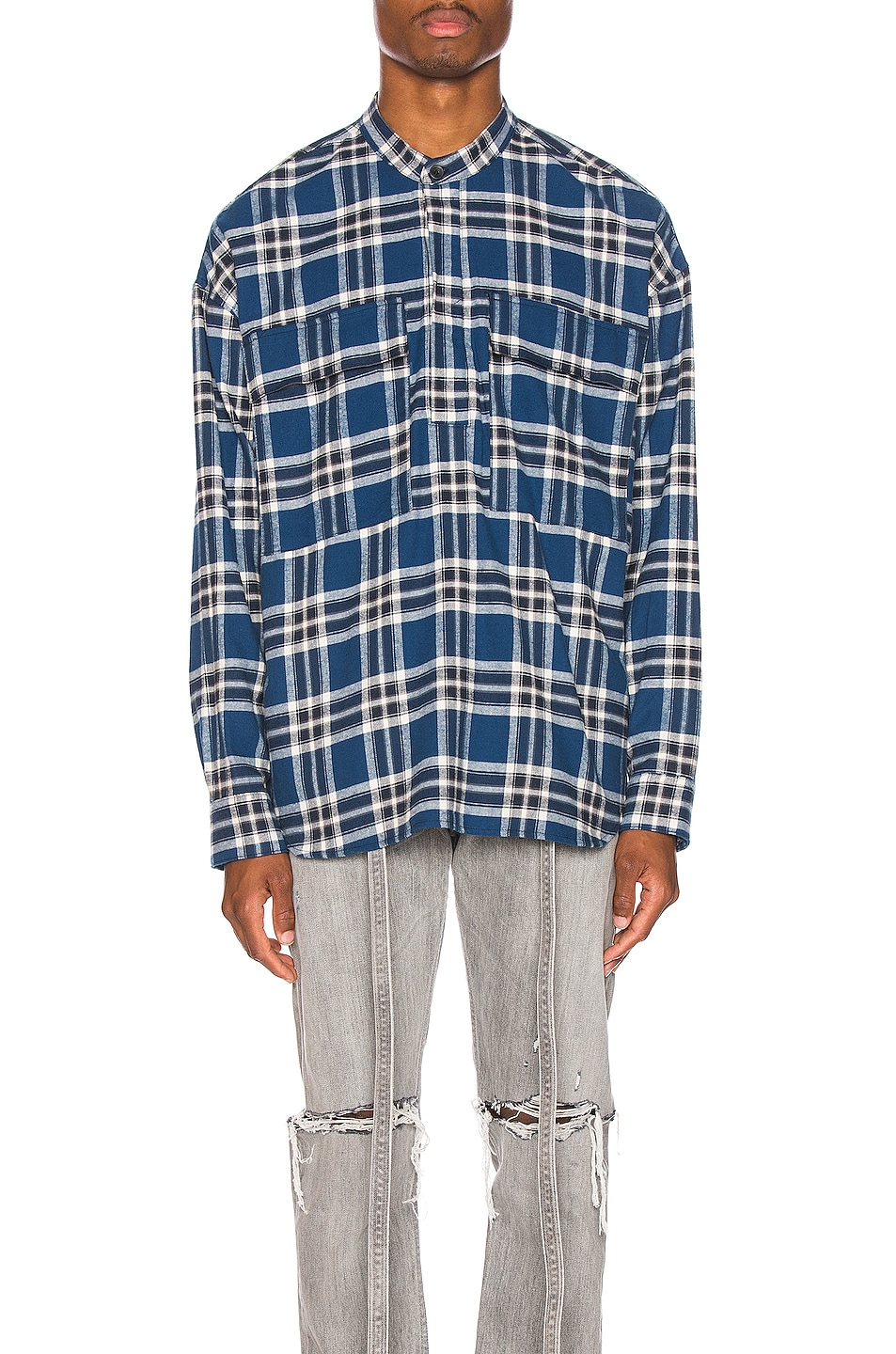 Image 2 of Fear of God Pullover Henley in Blue Plaid