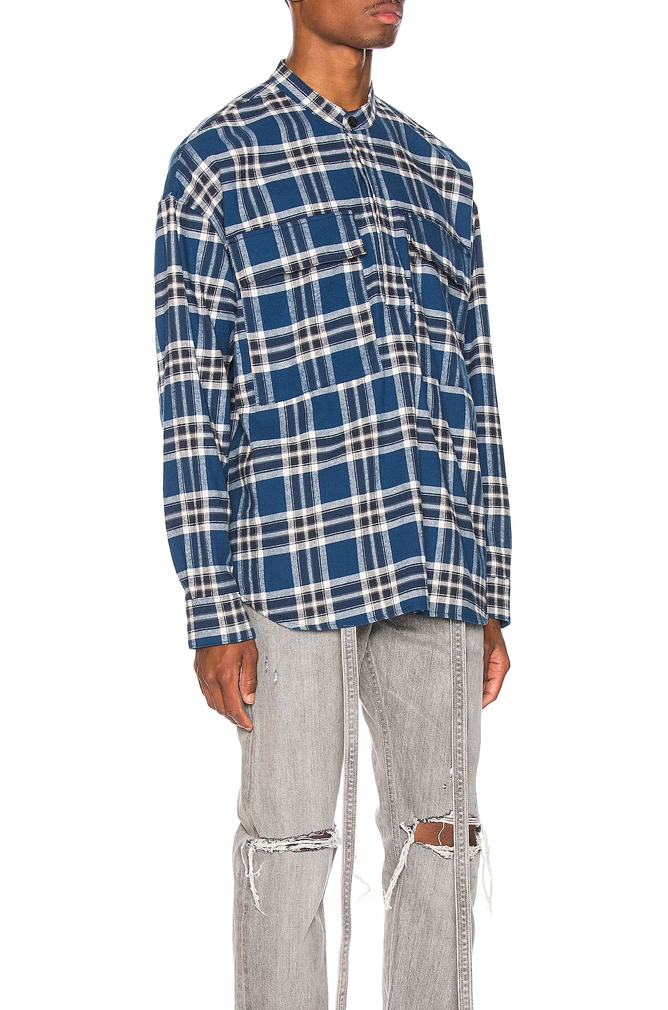 Image 3 of Fear of God Pullover Henley in Blue Plaid