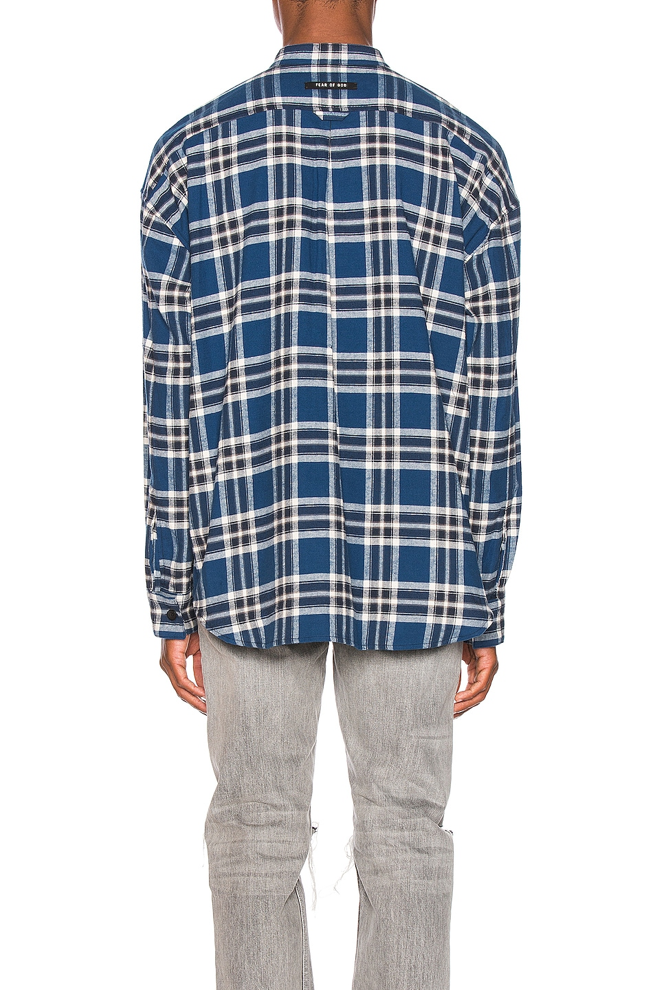Image 4 of Fear of God Pullover Henley in Blue Plaid