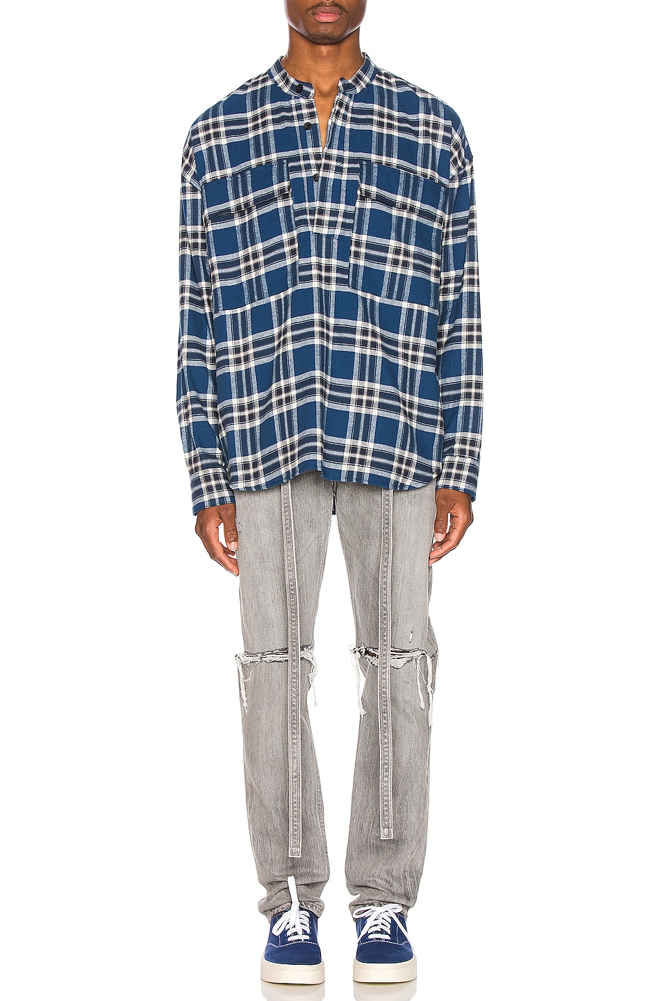 Image 5 of Fear of God Pullover Henley in Blue Plaid