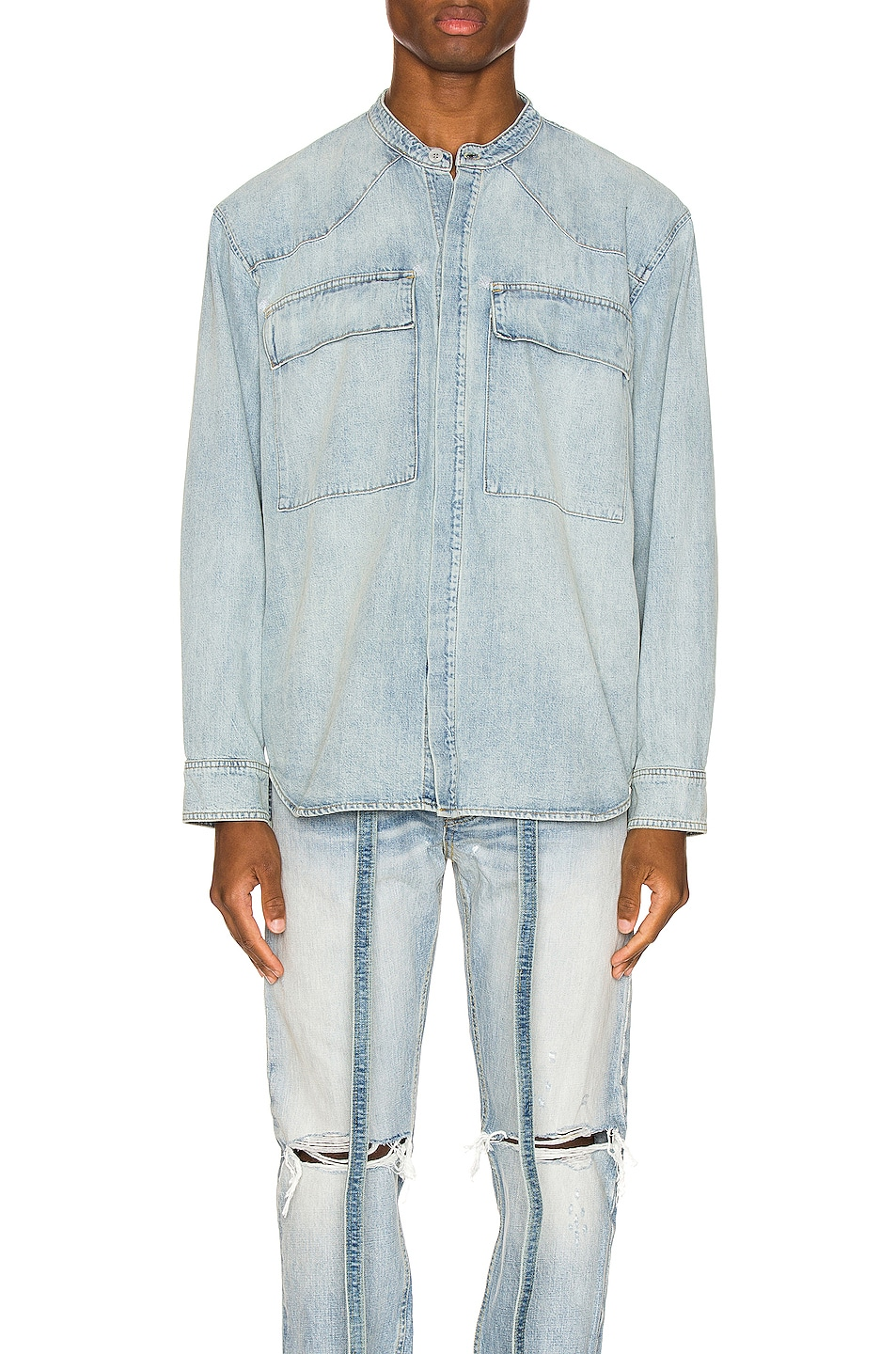 Image 1 of Fear of God Vintage Denim Shirt in Vintage Indigo