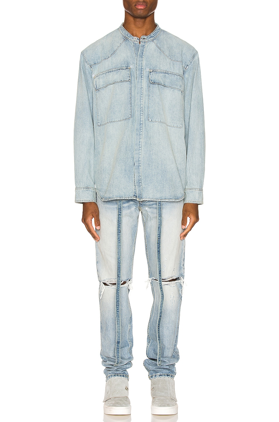 Image 4 of Fear of God Vintage Denim Shirt in Vintage Indigo