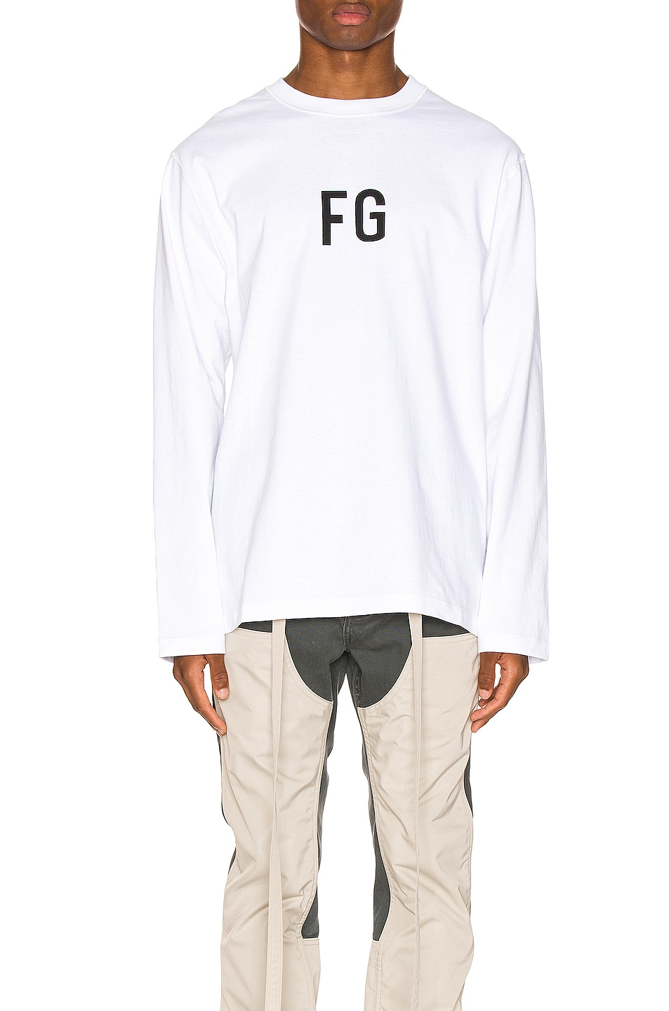 Image 1 of Fear of God Long Sleeve FG Tee in White