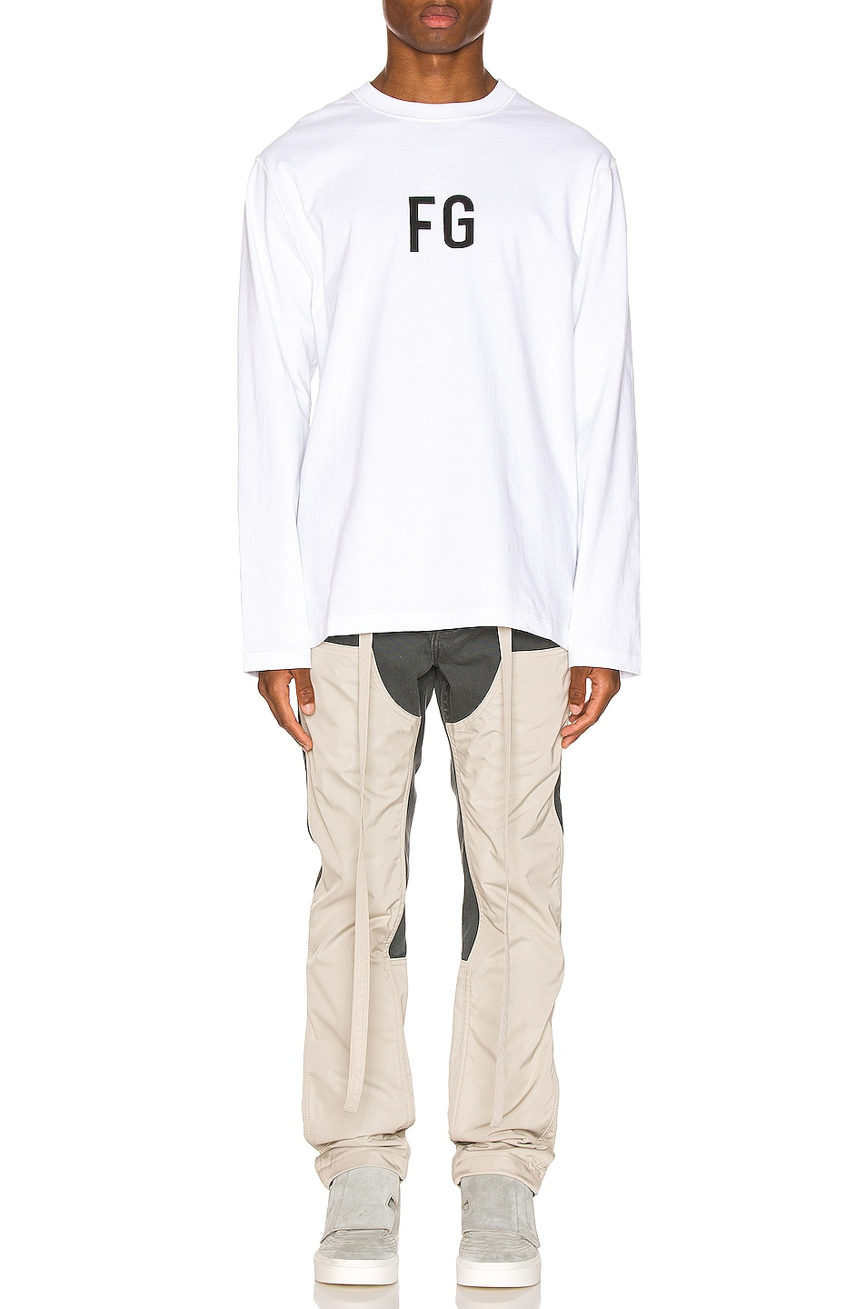 Image 4 of Fear of God Long Sleeve FG Tee in White
