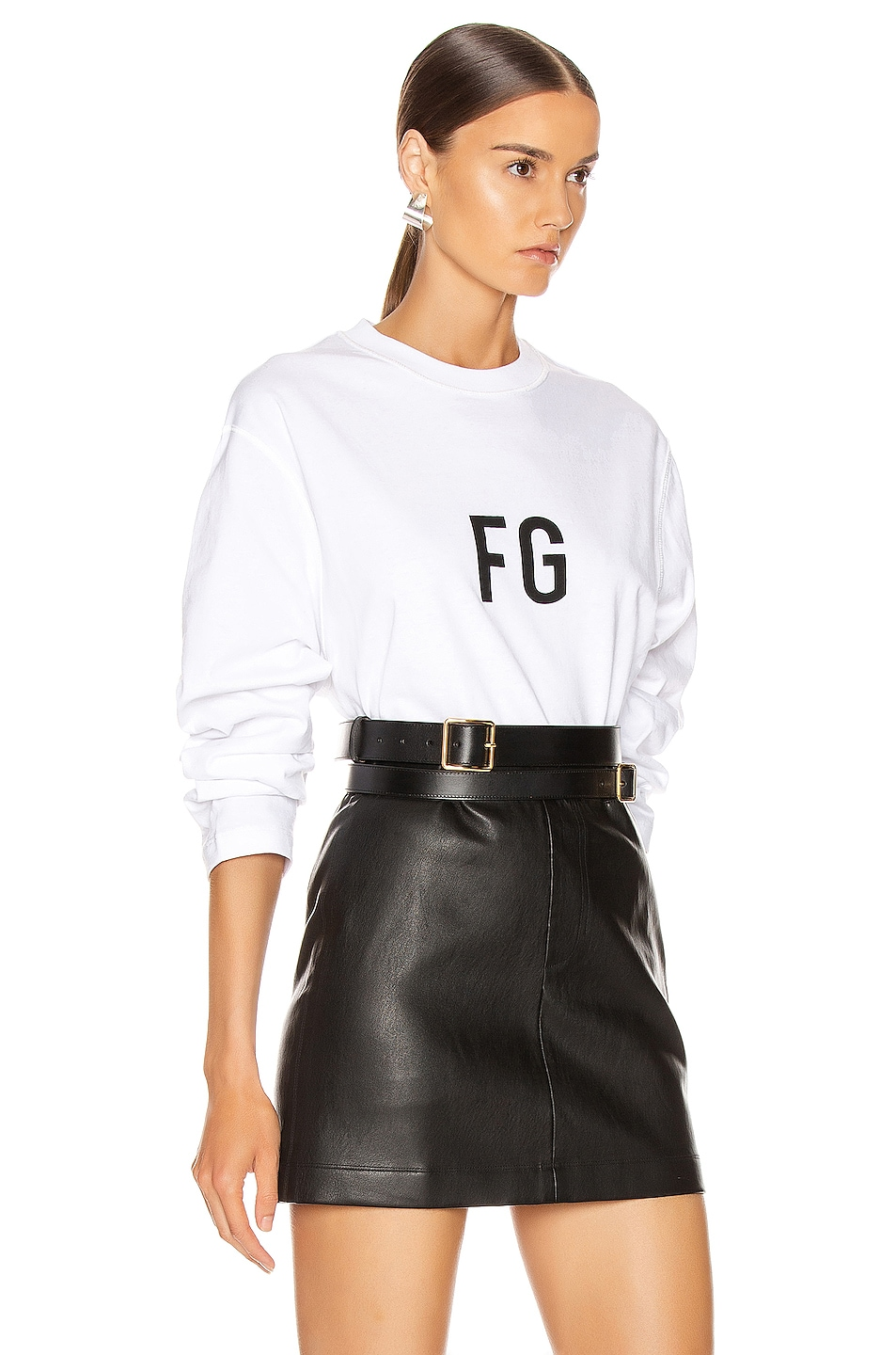 Image 2 of Fear of God Long Sleeve FG Tee in White