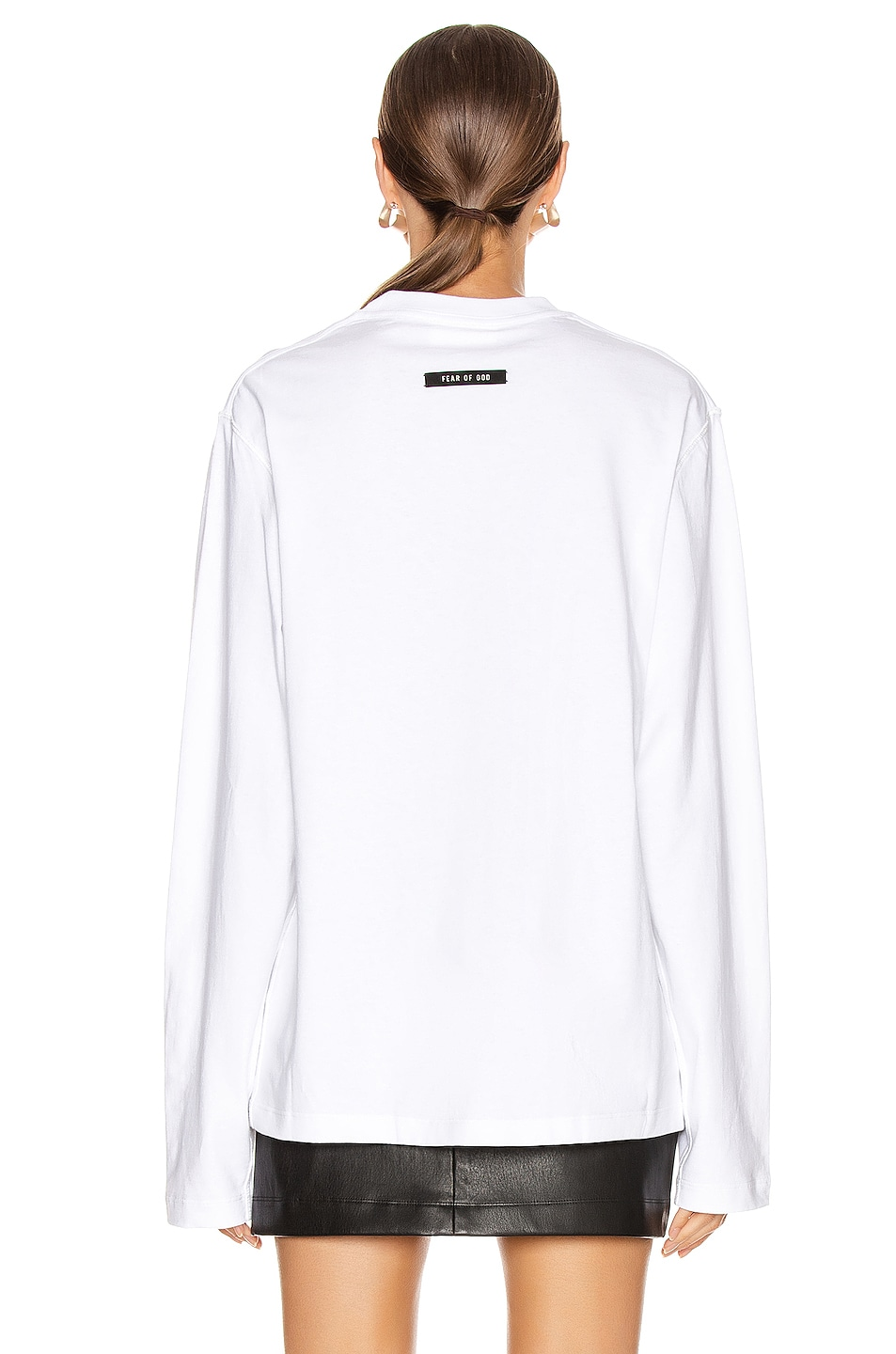 Image 3 of Fear of God Long Sleeve FG Tee in White