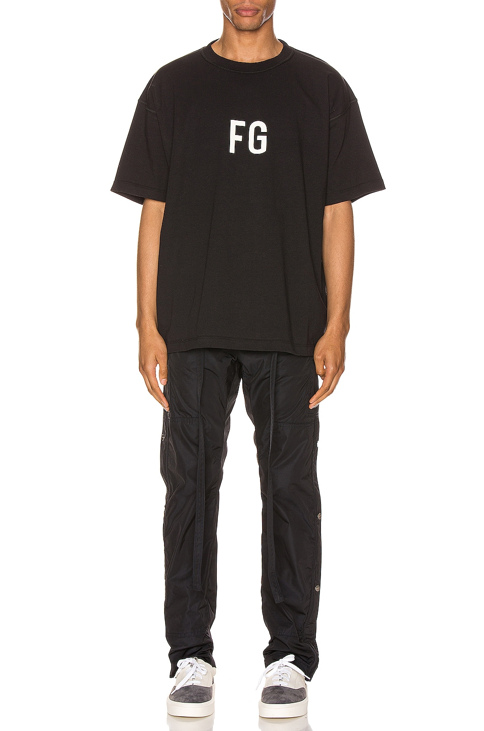 Image 4 of Fear of God Short Sleeve FG Tee in Vintage Black