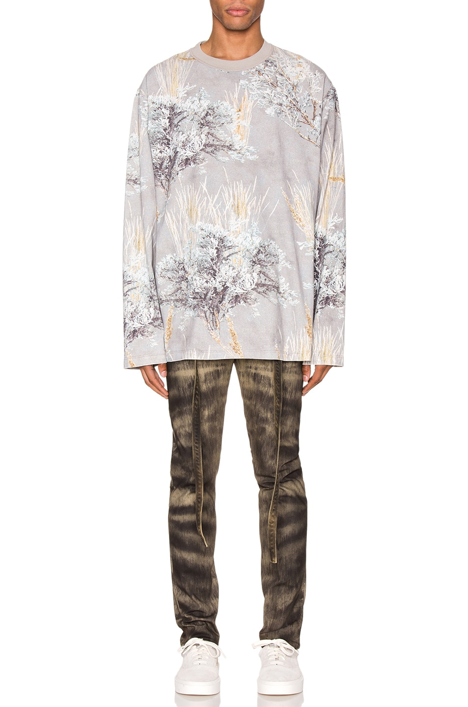 Image 4 of Fear of God Printed Long Sleeve Tee in Prarie Ghost Camo