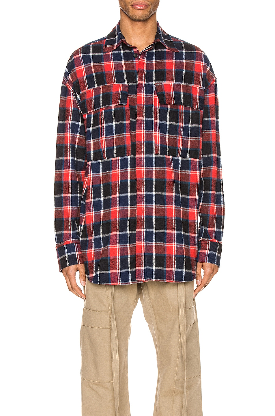 Image 1 of Fear of God Long Sleeve Plaid Button Up in Red & Navy Plaid