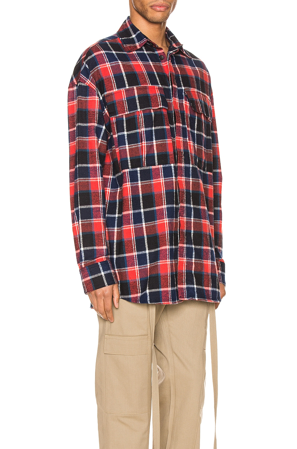 Image 2 of Fear of God Long Sleeve Plaid Button Up in Red & Navy Plaid