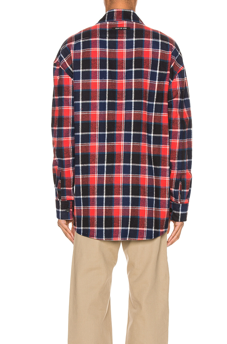 Image 3 of Fear of God Long Sleeve Plaid Button Up in Red & Navy Plaid