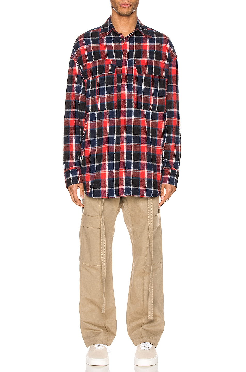Image 4 of Fear of God Long Sleeve Plaid Button Up in Red & Navy Plaid