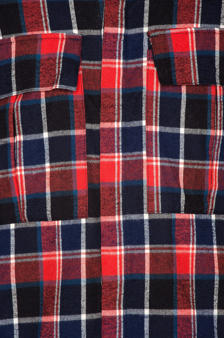 Image 5 of Fear of God Long Sleeve Plaid Button Up in Red & Navy Plaid