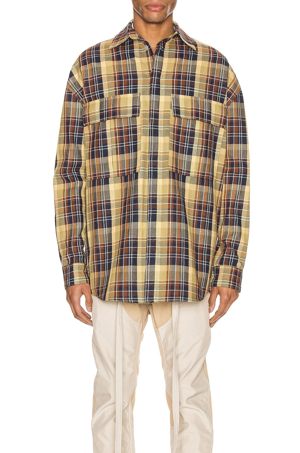 Image 1 of Fear of God Long Sleeve Plaid Button Up in Yellow & Navy