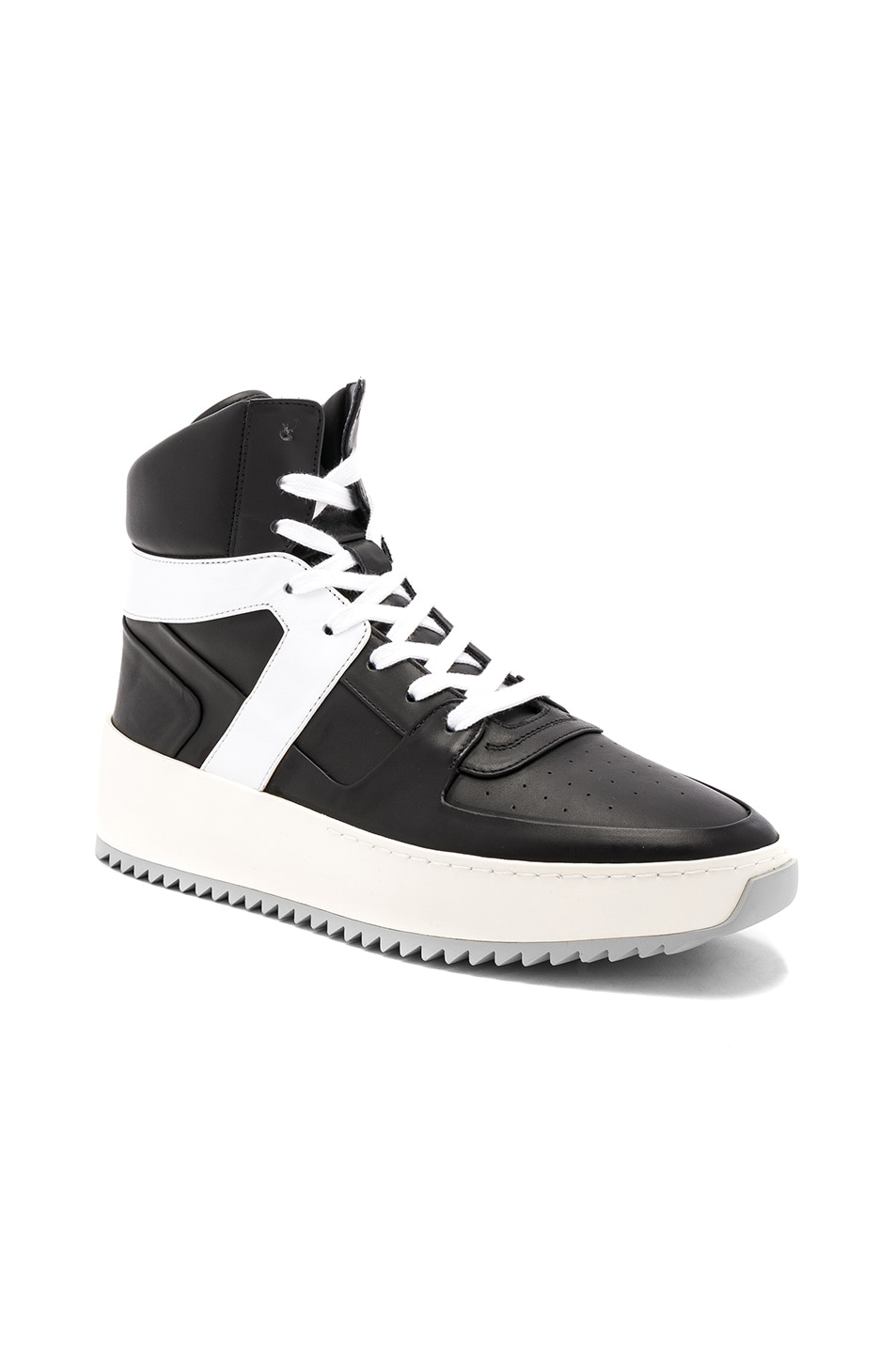 Image 1 of Fear of God Leather Basketball Sneakers in Black & White