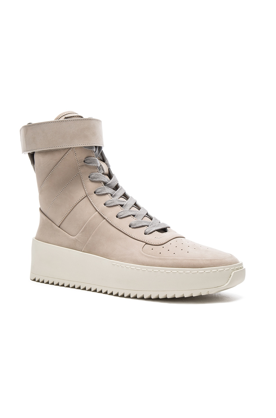 finest selection 12fd0 9e714 Image 1 of Fear of God Military Leather Sneakers in Grey