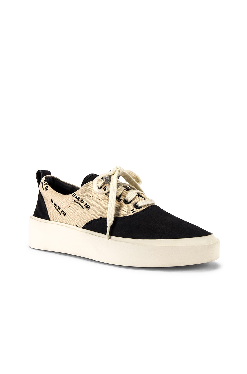 Image 1 of Fear of God 101 Lace Up Sneaker in Black & Creme Logo Print