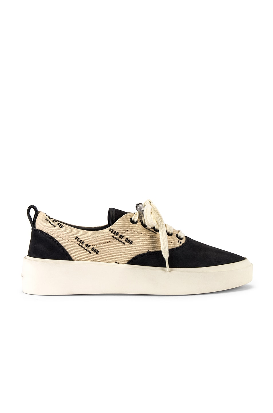 Image 2 of Fear of God 101 Lace Up Sneaker in Black & Creme Logo Print