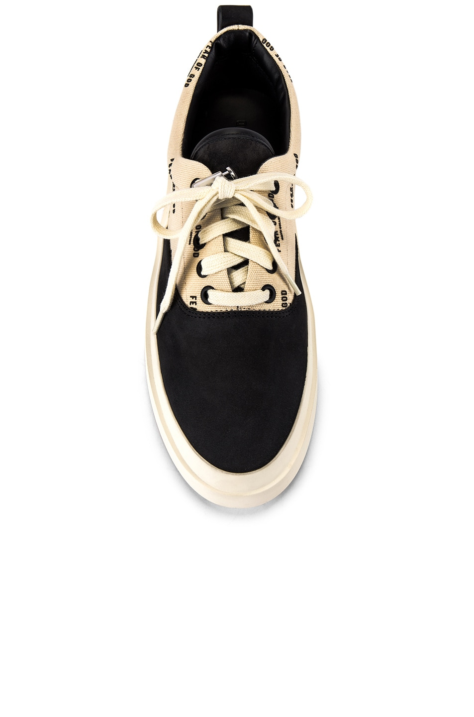 Image 4 of Fear of God 101 Lace Up Sneaker in Black & Creme Logo Print