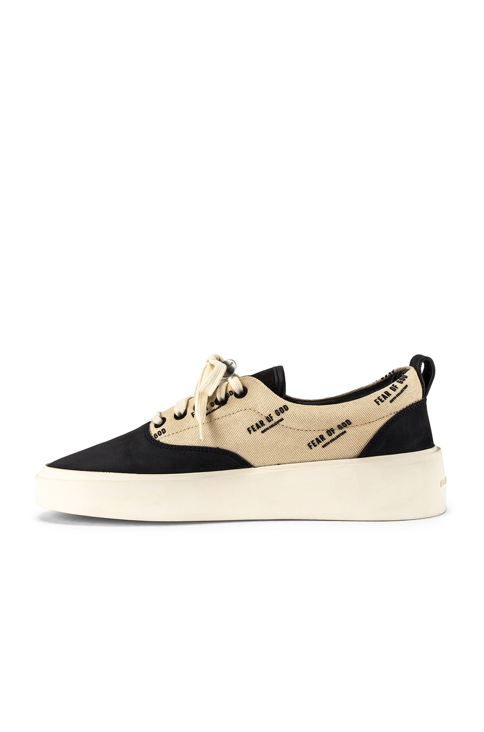 Image 5 of Fear of God 101 Lace Up Sneaker in Black & Creme Logo Print
