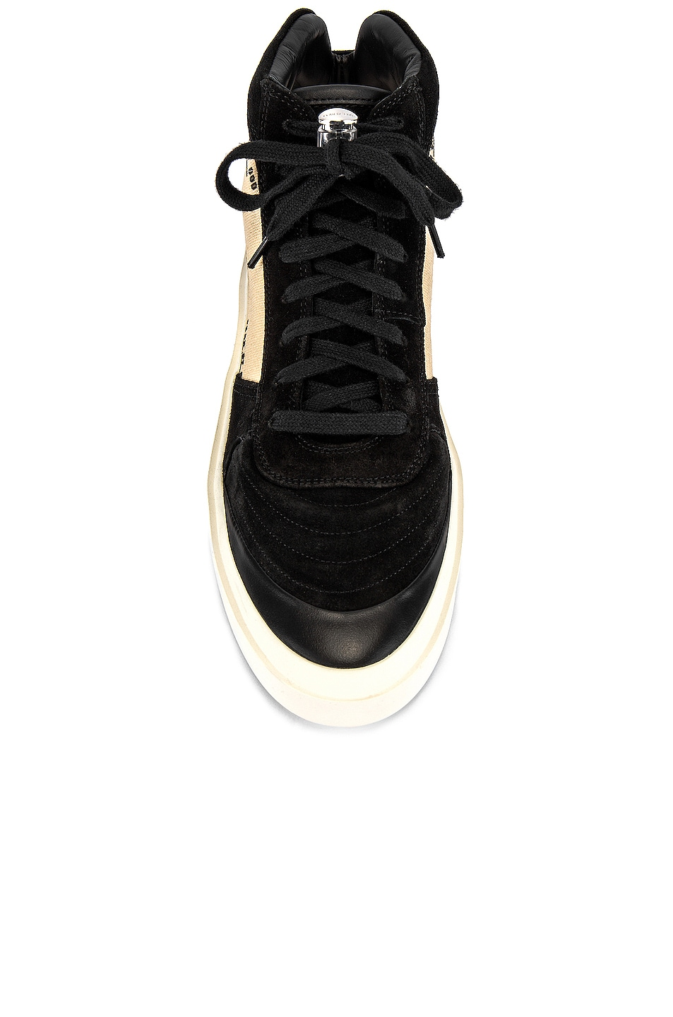 Image 4 of Fear of God Strapless Skate Mid in Black & Creme Print